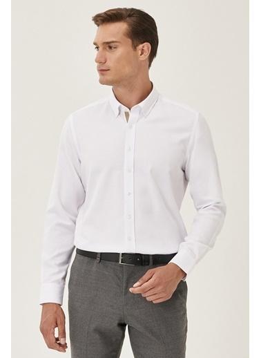 Altınyıldız Classics Tailored Slim Fit Dar Kesim Düğmeli Yaka Armürlü Gömlek 4A2021200011 Beyaz